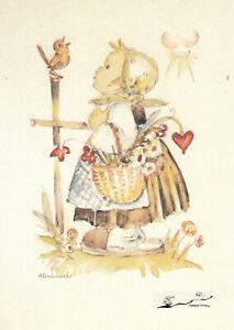 Kunstkarte: Hummel - Glücksboten / Kind Vogel Blumen