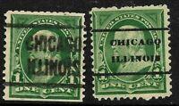 "Sc #279 ""Chicago Illinois- 2 Different"" Precancel 1 Cent Franklin US Stamp 7B55"