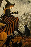 4X6 HALLOWEEN POSTCARD PRINT LE 10/100  RYTA VINTAGE STYLE ART WITCH BLACK CAT