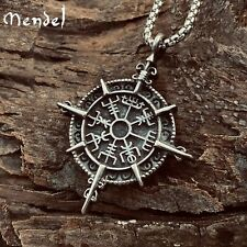 MENDEL Stainless Steel Boys Mens Viking Vegvisir Compass Pendant Necklace Amulet