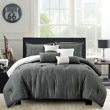 Bedding Comforter Set Luxury Bed In A Bag 7 Piece,Microfiber Oversize Gray Queen