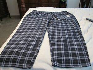 CROFT & BARROW MEN'S NEW Blue Cotton Bl Elastic Flannel Lounge Pant Sz 4XB