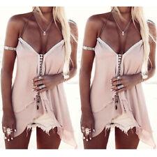 Women Irregular Hem Chiffon Vest Shirt Summer Beach Casual Tank Tops Blouse Tee
