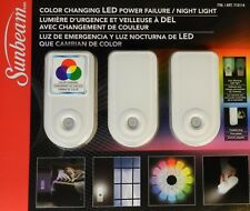 Sunbeam 3 Pack Multi-Colored Color Changing LED Power Failure / Night Light