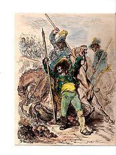 GRAVURE SUR BOIS  AQUARELLEE 19ème TAUROMACHIE LA MORT DU CHEVAL DESSIN DE  DORE