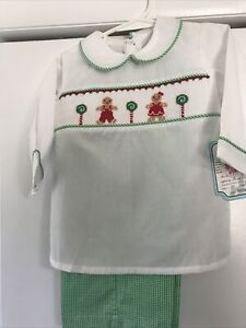 Remember Nguyen Boys Smocked Gingerbread Two Piece 2t Nwt Christmas