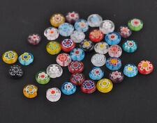 50Pcs Mixed Millefiori Glass Flat Round Loose Spacer Bead DIY Crafts Making