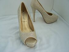 Size 5 gold + shiny beads, peep toe, low platform stiletto heels from New Look