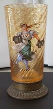 Vintage Moser Amber Glass Tumbler W/ Hand Painted Beer Maiden & Brass Bottom