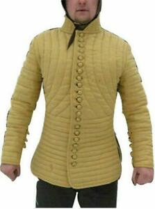 Thick yellow color slim fitting Gambeson Medieval Padded image 0 Thick yellow co