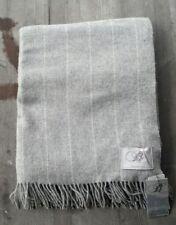 Bronte by Moon UK 100% Merino Wool Throw – Gray Pinstripe – New