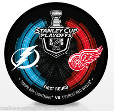 2016 DETROIT RED WINGS VS TAMPA BAY LIGHTNING STANLEY CUP PLAYOFFS SOUVENIR PUCK