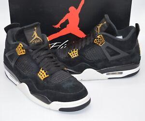 NDS 2017 Nike Air Jordan IV (4) Royalty Black/Gold/White sz 11 Rare Retro Suede
