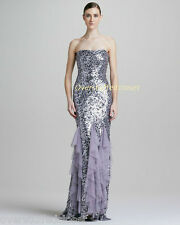 NWT $890 Badgley Mischka Purple Strapless Sequined Ruffled Chiffon Gown 8