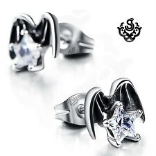 Silver stud made with clear swarovski crystal earrings angel wings stars gothic