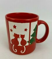 Waechtersbach Red Cat Mug Window Christmas Tree White Green Germany vintage