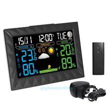 Funk Wetterstation mit.LCD Farbdisplay Außensensor Funkuhr Wettervorhersage EU