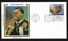 """#2982 32c Louis Armstrong - """"Satchmo"""" - Colorano """"Silk""""  FDC"""