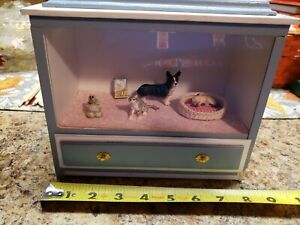Dollhouse Miniature Store Front Pet Store Room Box Blue White Drawer