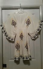 ANTHROPOLOGIE HAZEL EMBROIDERED TUNIC DRESS EMPIRE WAIST BATWING SLEEVES *S*