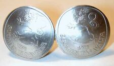 Finnish rampant lion coin cuff links-domed-Handmade in the USA