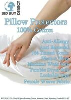 4 Pillow Protectors Zipped 100% Cotton White Covers Anti Allergy Dust Mite Proof
