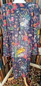 VINTAGE 70s Sumner SMOCK Dress SZ12/14 40/42C Lined FLORAL FLOATY HIPPY chiffon