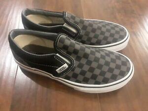 Vans Classic Slip-On Checkerboard Black Pewter Gray Kids Boys Size 4 New in Box