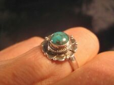 925 Silver Tibetan Turquoise Ring Nepal Size 7.75 A