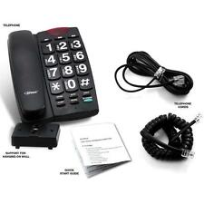 Large Number-Big Button-Speaker-Volume Control-Corded Phone- Black Color New !!