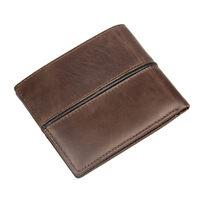 100% Genuine Cowhide Leather Vintage Pattern Purse Card Holder Mens ID Wallet