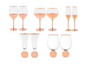 Rose Gold Collection Elegance Champagne, Wine, Party Flute Glasses Stemless