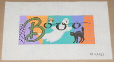 "Alice Peterson Halloween ""Booo"" Handpainted Needlepoint Canvas - Ghost Black Cat"