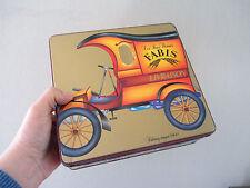 ancienne boite métal biscuits FABIS décor delivery wagon cookies tin box