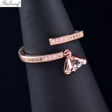 Fashion Adjustable Crystal Pendant Women Rings Rose Gold Plated Party Jewelry