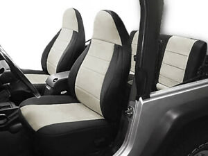 Jeep Wranglar TJ 1997-2002 Wetsuit Neoprene Seat Cover Set: Front & Rear- Grey