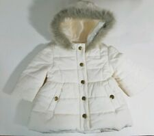Janie & Jack Baby Girl White Faux Fur Hood Puffer coat sz 3 - 6 months