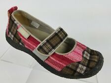 Keen Harvest Womens Mary Jane Flats Pink Brown Plaid Patchwork Size 6
