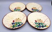 Vintage Japan Saucers Plates Rimmed Speckled Stoneware Floral Flower Handpainted