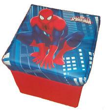 Pouf SPIDERMAN  contenitore 33x33x32 in raso con tappo imbottito