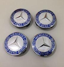 Mercedes 4 tappi ruota Coprimozzo Logo blu per cerchi in lega foro 75mm
