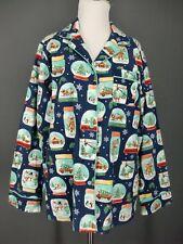 NICK & NORA Pajama Top L Blue Novelty Christmas Snow Globes Sleepshirt