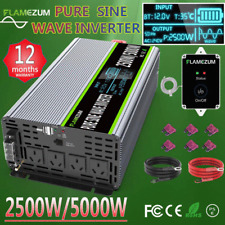 Car Power Inverter 2500W/5000W 12V To 240V Pure Sine Wave 4.5M Cable Remote Boat