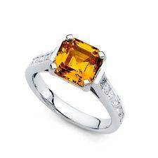 Asscher Orange CZ Engagement Ring 14k White Gold Anniversary CZ Band Princess