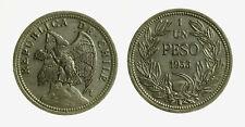 pcc2128_58) CILE CHILE 1 UN PESO 1933 NICKEL  CONDOR