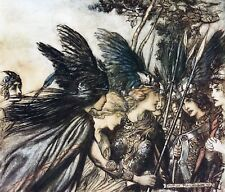La mitología Nórdica Vikingo Rhinegold & valquirias 1910 Arthur Rackham 10x8 pulgadas impresión