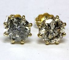 14k yellow gold 2.06ct I1 O-P round diamond stud earrings estate vintage antique