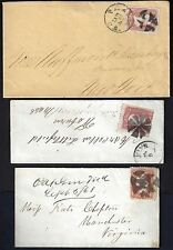 US 1860's FANCY CANCELS ON THREE COVERS