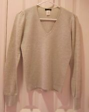 J. Crew Sweater Size S Ivory & Silver Metallic V-Neck Pullover Wool Blend