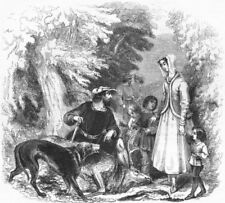 FAMILY. William of Cloudeslie, Englewood forest 1845 old antique print picture